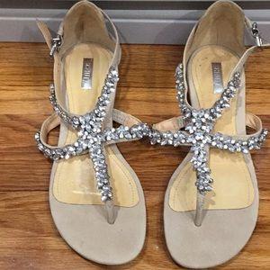 Schultz nude suede embellished sandals Us 6 nwot